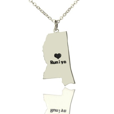 Mississippi State Shaped Necklaces With Heart  Name Silver - Crafted By Birthstone Design™