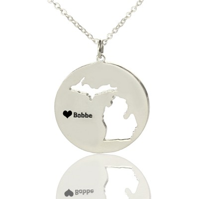 Custom Michigan Disc State Necklaces With Heart  Name Silver - Crafted By Birthstone Design™