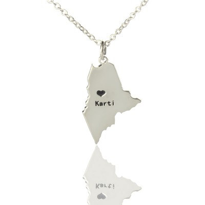 Custom Maine State Shaped Necklaces With Heart  Name Silver - Crafted By Birthstone Design™