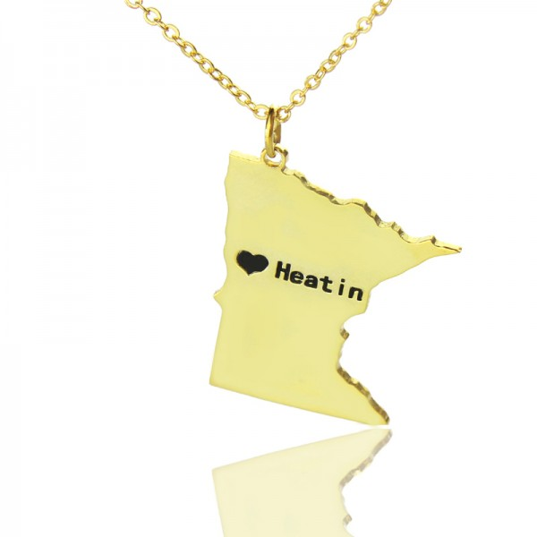 Custom Minnesota State Shaped Necklaces With Heart  Name Gold Plated - Crafted By Birthstone Design™