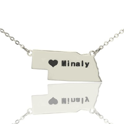 Custom Nebraska State Shaped Necklaces With Heart  Name Silver - Crafted By Birthstone Design™