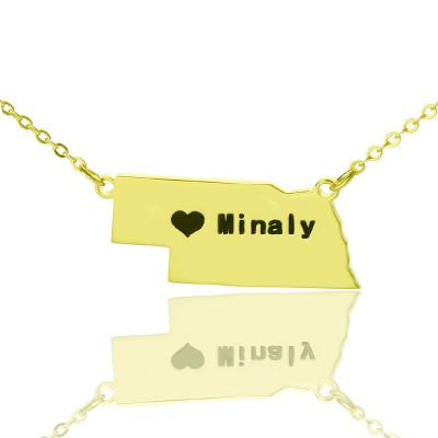 Custom Nebraska State Shaped Necklaces With Heart  Name Gold Plated - Crafted By Birthstone Design™
