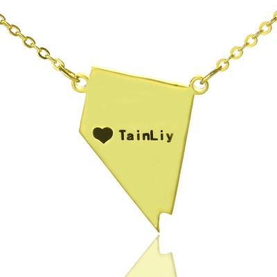 Custom Nevada State Shaped Necklaces With Heart  Name Gold Plated - Crafted By Birthstone Design™
