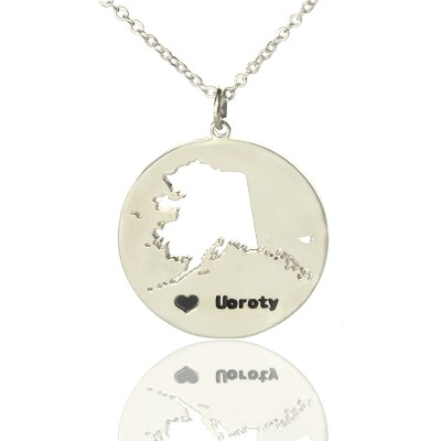 Custom Alaska Disc State Necklaces With Heart  Name Silver - Crafted By Birthstone Design™