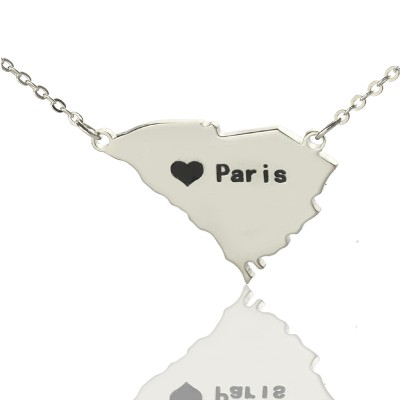 South Carolina State Shaped Necklaces With Heart  Name Silver - Crafted By Birthstone Design™