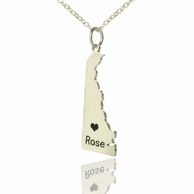 Custom Delaware State Shaped Necklaces With Heart  Name Silver - Crafted By Birthstone Design™