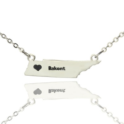 Custom Tennessee State Shaped Necklaces With Heart  Name Silver - Crafted By Birthstone Design™
