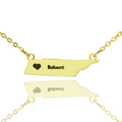 Custom Tennessee State Shaped Necklaces With Heart  Name Gold Plated - Crafted By Birthstone Design™