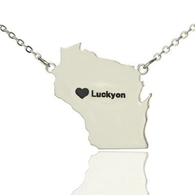 Custom Wisconsin State Shaped Necklaces With Heart  Name Silver - Crafted By Birthstone Design™