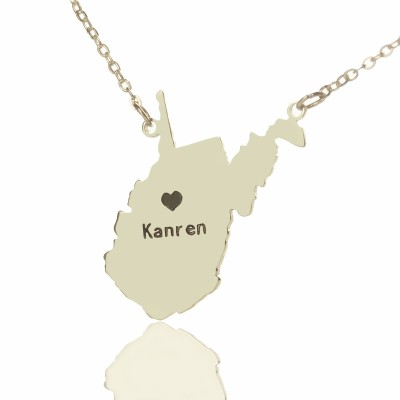 Custom West Virginia State Shaped Necklaces With Heart  Name Silver - Crafted By Birthstone Design™