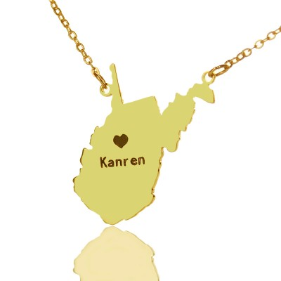 Custom West Virginia State Shaped Necklaces With Heart  Name Gold - Crafted By Birthstone Design™