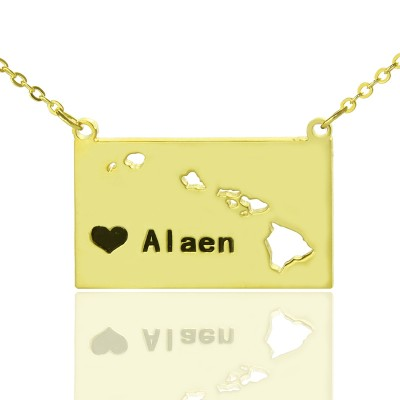Custom Hawaii State Shaped Necklaces With Heart  Name Gold Plated - Crafted By Birthstone Design™