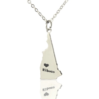 Custom New Hampshire State Shaped Necklaces With Heart  Name Silver - Crafted By Birthstone Design™