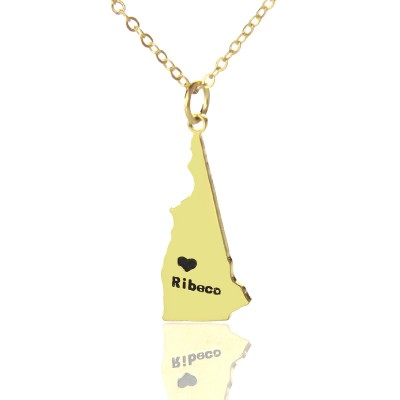 Custom New Hampshire State Shaped Necklaces With Heart  Name Gold - Crafted By Birthstone Design™