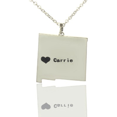 Custom New Mexico State Shaped Necklaces With Heart  Name Silver - Crafted By Birthstone Design™