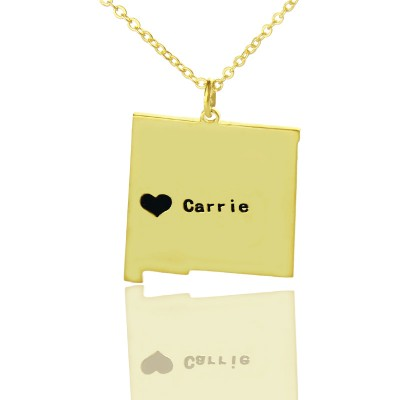 Custom New Mexico State Shaped Necklaces With Heart  Name Gold Plate - Crafted By Birthstone Design™