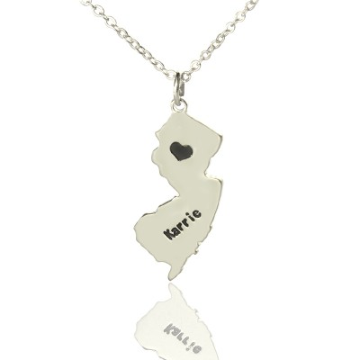 Custom New Jersey State Shaped Necklaces With Heart  Name Silver - Crafted By Birthstone Design™