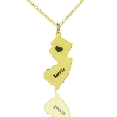 Custom New Jersey State Shaped Necklaces With Heart  Name Gold - Crafted By Birthstone Design™