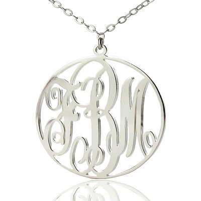 Personalised 18ct White Gold Plated Vine Font Circle Initial Monogram Necklace - Crafted By Birthstone Design™