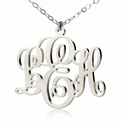 Personalised Vine Font Initial Monogram Necklace 18ct White Gold Plated - Crafted By Birthstone Design™