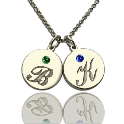 Personalised Disc Necklace with Initial  Birthstone  - Crafted By Birthstone Design™