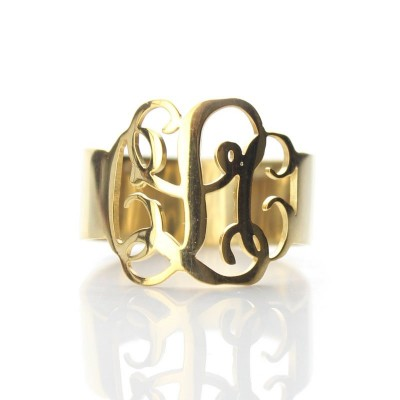 Solid Gold Personalised Monogram Ring - Crafted By Birthstone Design™