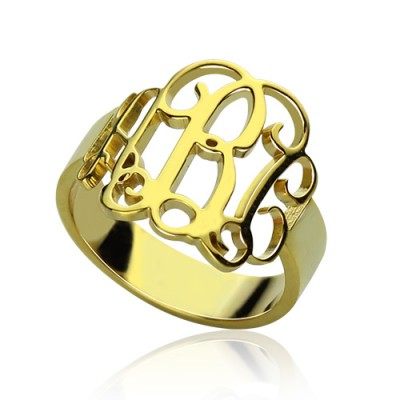 18ct Gold Plated Monogram Ring Cut Out - Crafted By Birthstone Design™