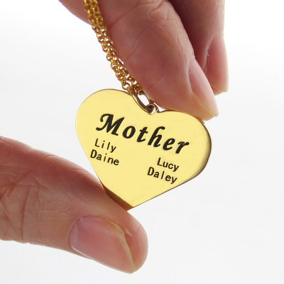 """Mother"" Heart Family Names Necklace 18ct Gold Plated - Crafted By Birthstone Design™"