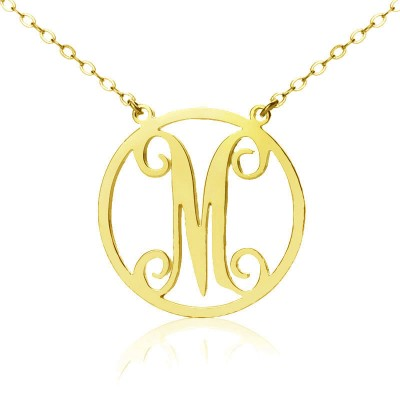 Solid Gold 18ct Single Initial Circle Monogram Necklace - Crafted By Birthstone Design™