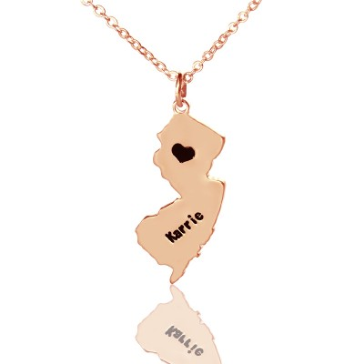 Custom New Jersey State Shaped Necklaces With Heart  Name Rose Gold - Crafted By Birthstone Design™