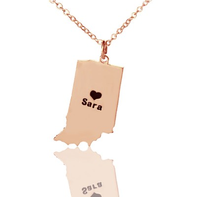 Custom Indiana State Shaped Necklaces With Heart  Name Rose Gold - Crafted By Birthstone Design™