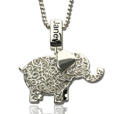 Elephant Charm Necklace with Name  Birthstone Sterling Silver  - Crafted By Birthstone Design™