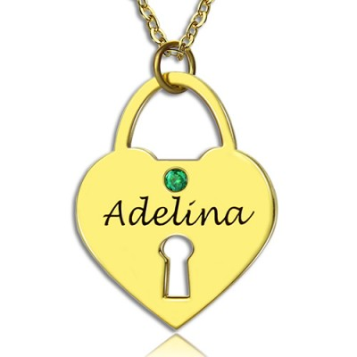 I Love You Heart Lock Keepsake Necklace With Name 18ct Gold Plated - Crafted By Birthstone Design™