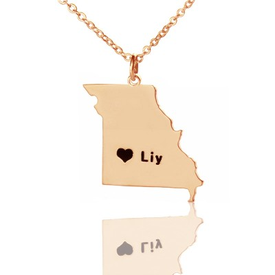 Custom Missouri State Shaped Necklaces With Heart  Name Rose Gold - Crafted By Birthstone Design™