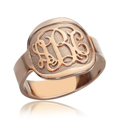 Engraved Round Monogram Ring Rose Gold - Crafted By Birthstone Design™