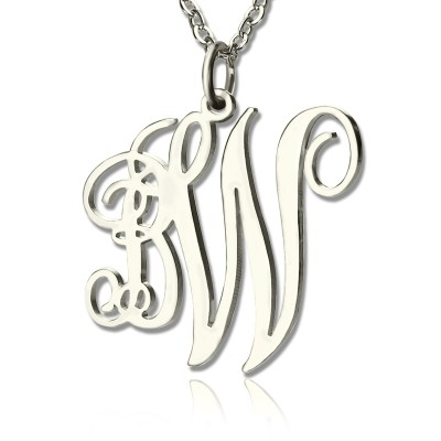 Personalised Vine Font 2 Initial Monogram Necklace 18ct Solid White Gold - Crafted By Birthstone Design™
