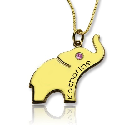 Elephant Lucky Charm Necklace Engraved Name 18ct Gold Plated - Crafted By Birthstone Design™