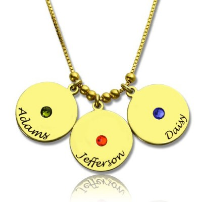 Mother's Disc and Birthstone Charm Necklace 18ct Gold Plated  - Crafted By Birthstone Design™