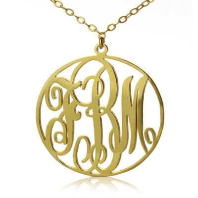 Solid Gold Vine Font Circle Initial Monogram Necklace-18ct - Crafted By Birthstone Design™