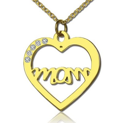 Mothers Heart Necklace With Birthstone 18ct Gold Plated  - Crafted By Birthstone Design™
