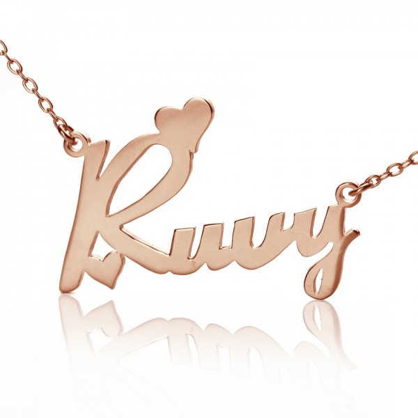 Personalised 18ct Rose Gold Plated Fiolex Girls Fonts Heart Name Necklace - Crafted By Birthstone Design™