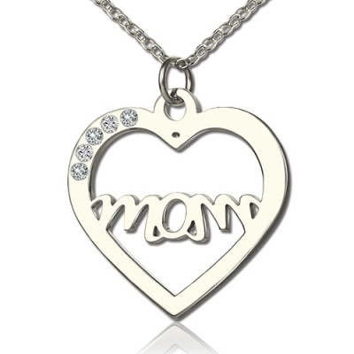 Mothers Birthstone Heart Necklace Sterling Silver  - Crafted By Birthstone Design™