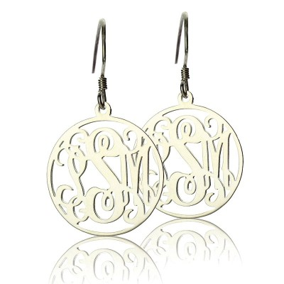 Circle Monogrammed Initial Earrings Sterling Silver - Crafted By Birthstone Design™