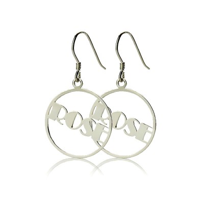 Sterling Silver Broadway Font Circle Name Earrings - Crafted By Birthstone Design™