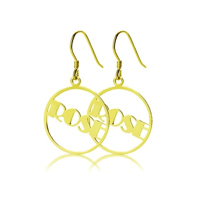 Gold Plated Silver 925 Broadway Font Circle Name Earrings - Crafted By Birthstone Design™