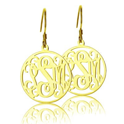 Circle Monogram Initial Earrings In Gold - Crafted By Birthstone Design™