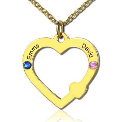 18ct Gold Open Heart Necklace with Double Name  Birthstone  - Crafted By Birthstone Design™
