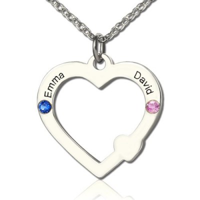 Double Name Open Heart Necklace with Birthstone Sterling Silver  - Crafted By Birthstone Design™