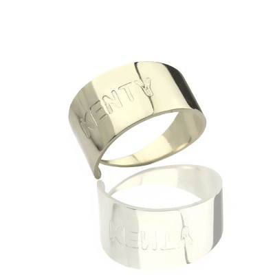 Engraved Name Cuff Rings Sterling Silver - Crafted By Birthstone Design™