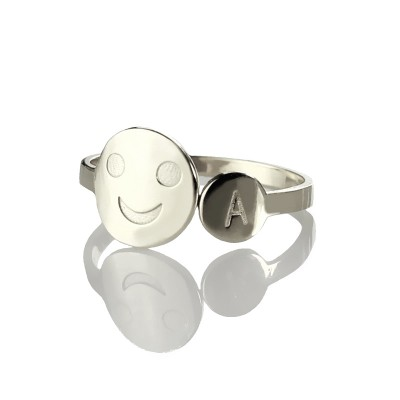 Personalised Smile Ring with Initial Sterling Silver - Crafted By Birthstone Design™
